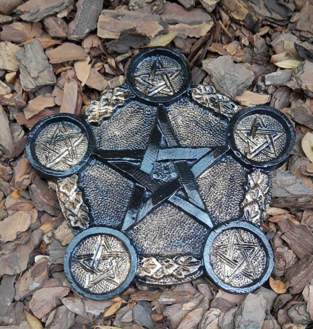 Incensário e Porta vela Pentagrama - 18cm