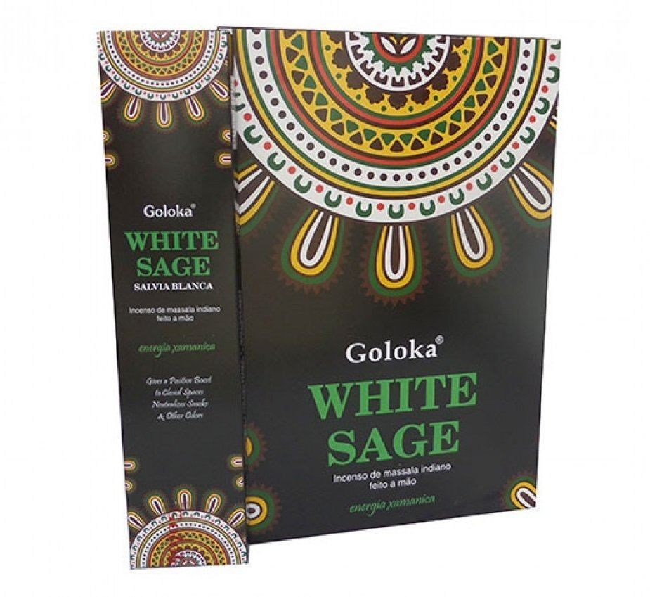 Incenso de Massala Indiano Goloka Sálvia Branca (White Sage)
