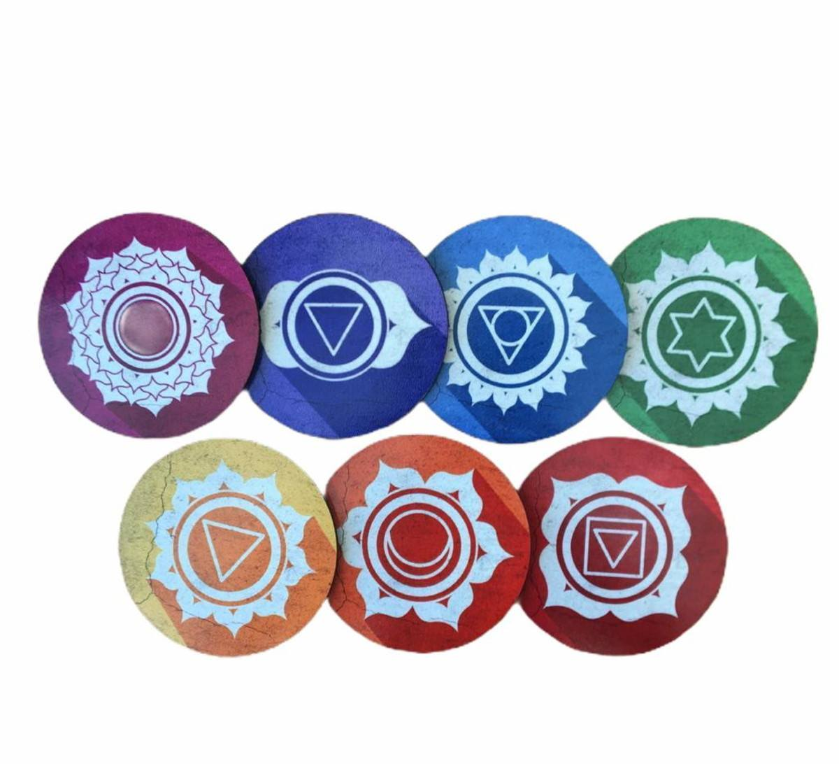 Kit Mandala Decorativa 7 Chakras em MDF 9 cm diametro (Porta Copos).