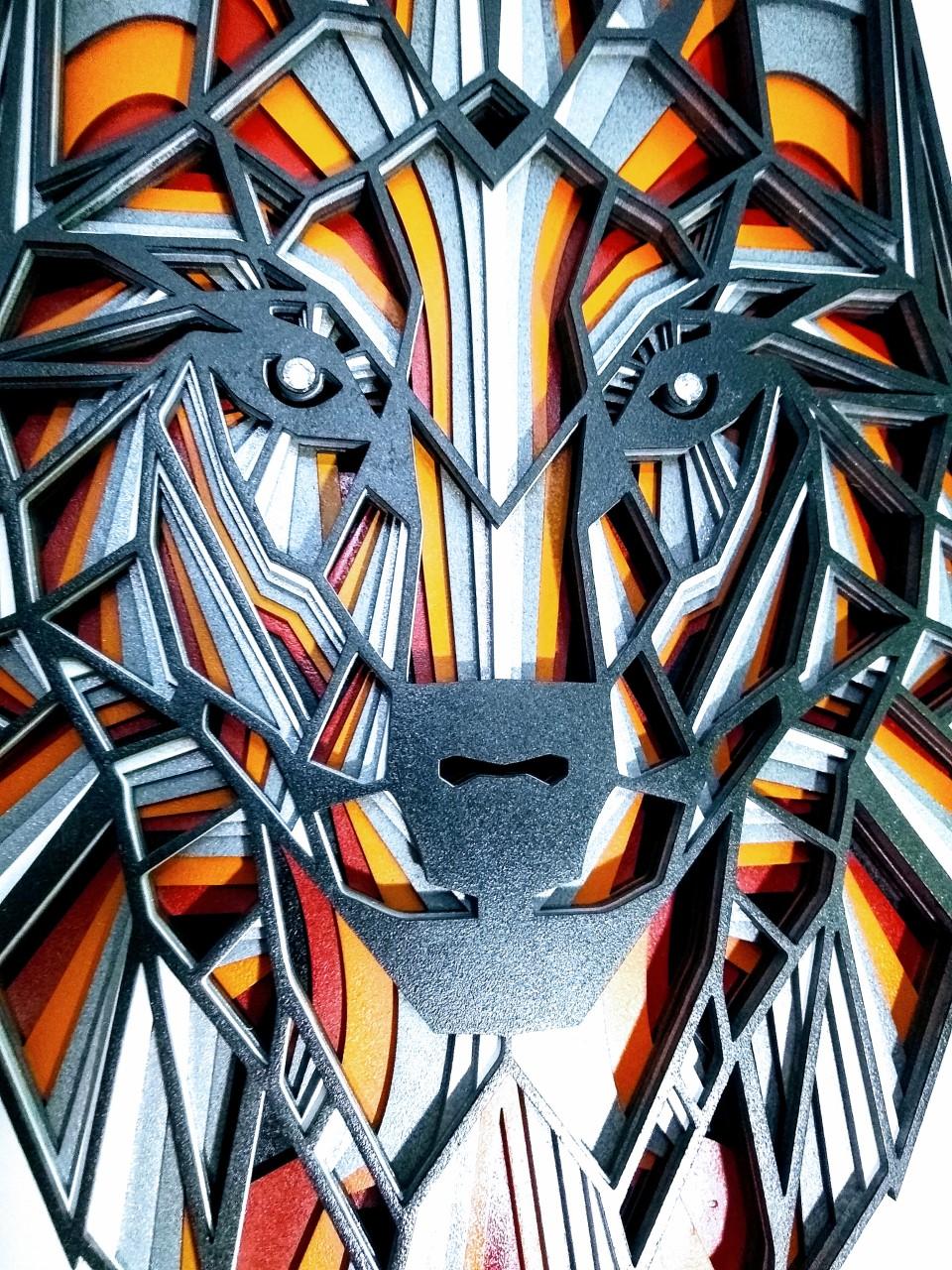 Mandala Lobo Relevo 3D