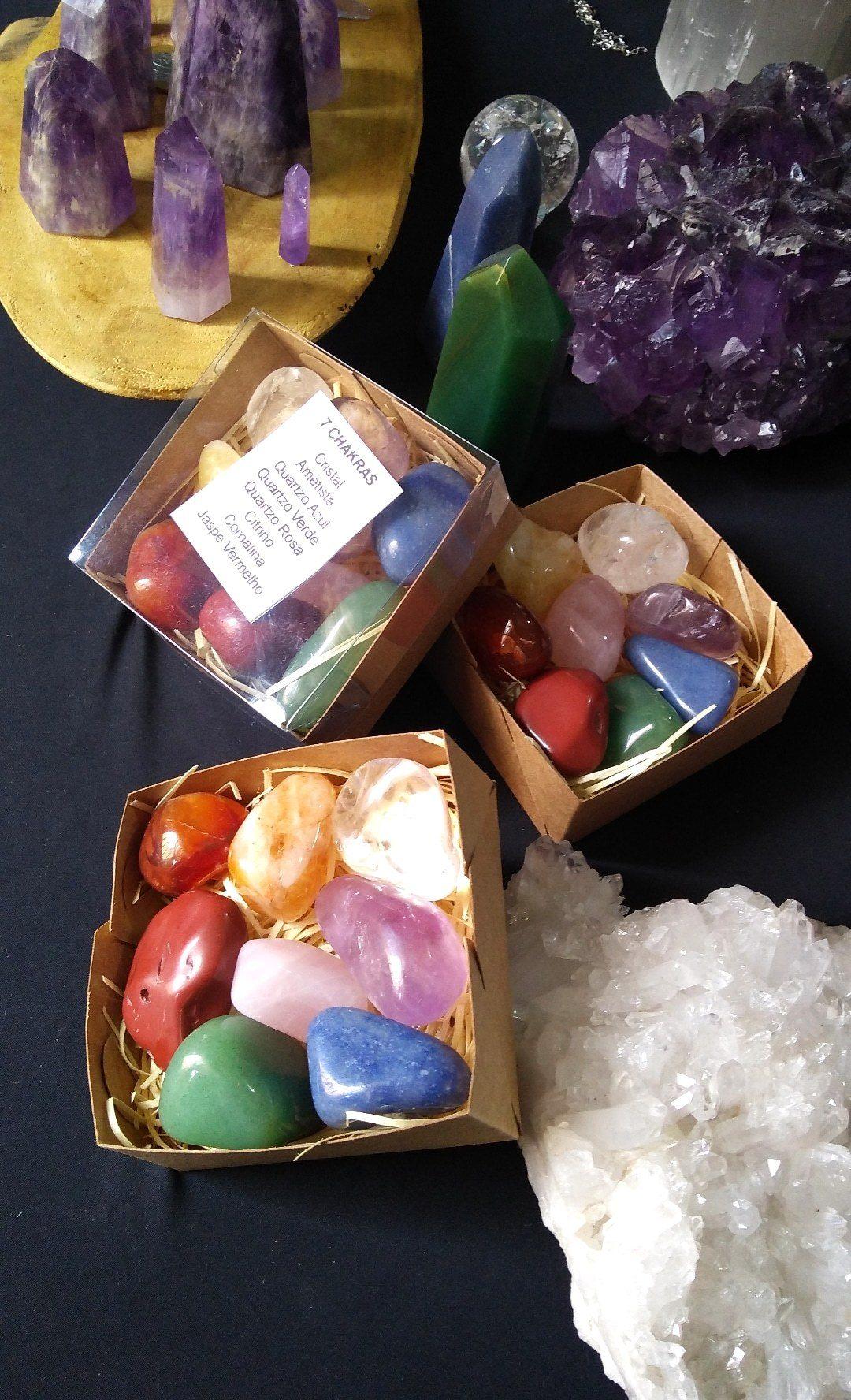 Pedras dos chakras kit maior com 8 pedras roladas cristais dos chakras kit chakras completo
