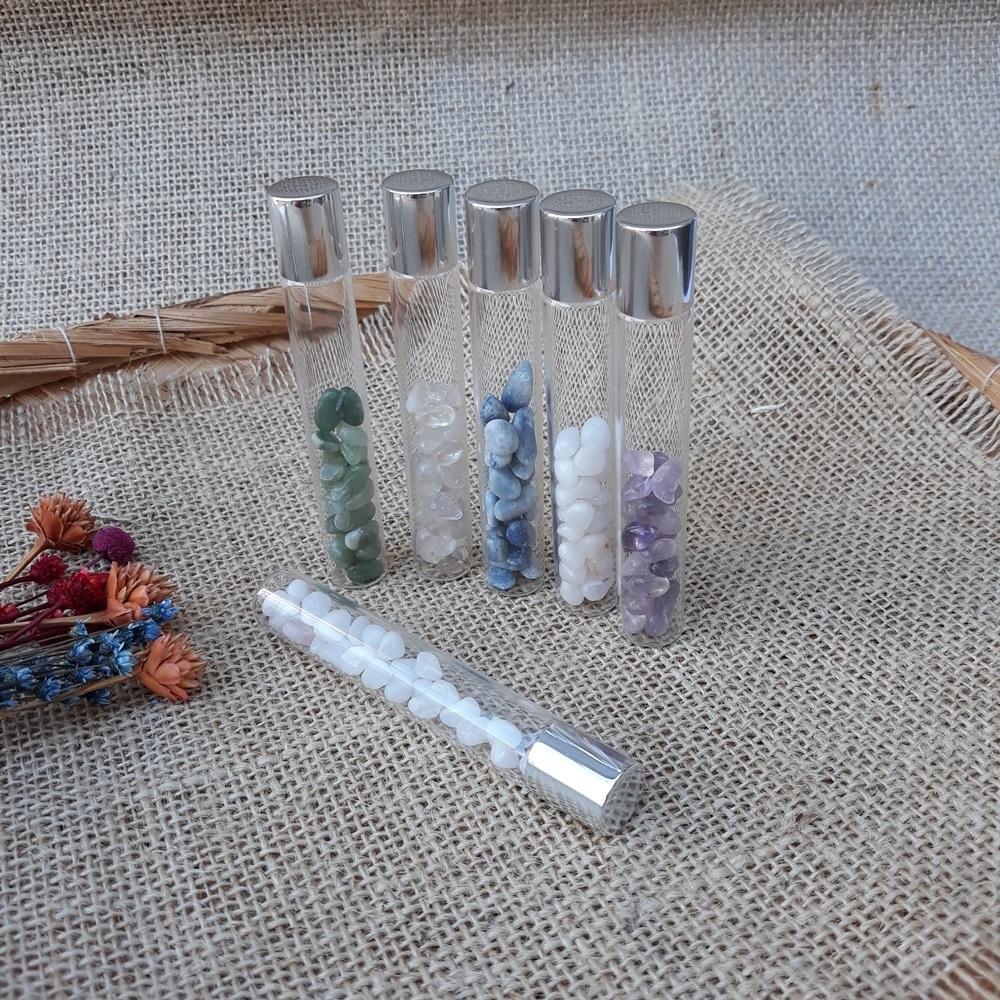 Vidro Roll On com Cristal Natural - KIT com 5 unidades