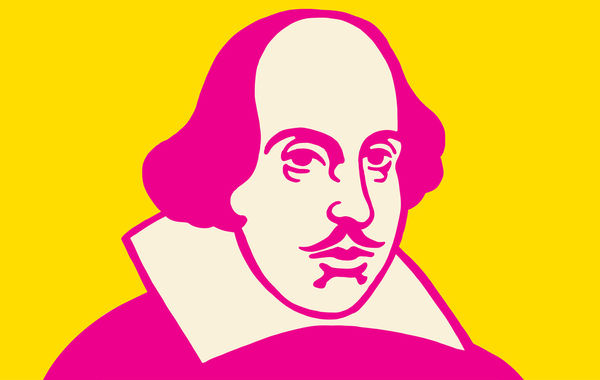 Drawing of Ben Franklin in magenta with yellow background