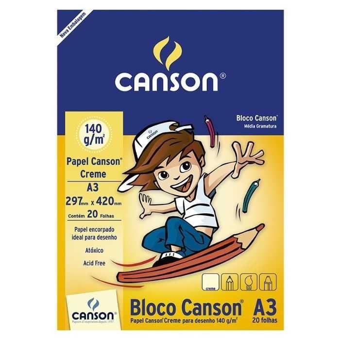 Bloco Canson Desenho 140g A3 - Texturizado Creme - 20 Folhas