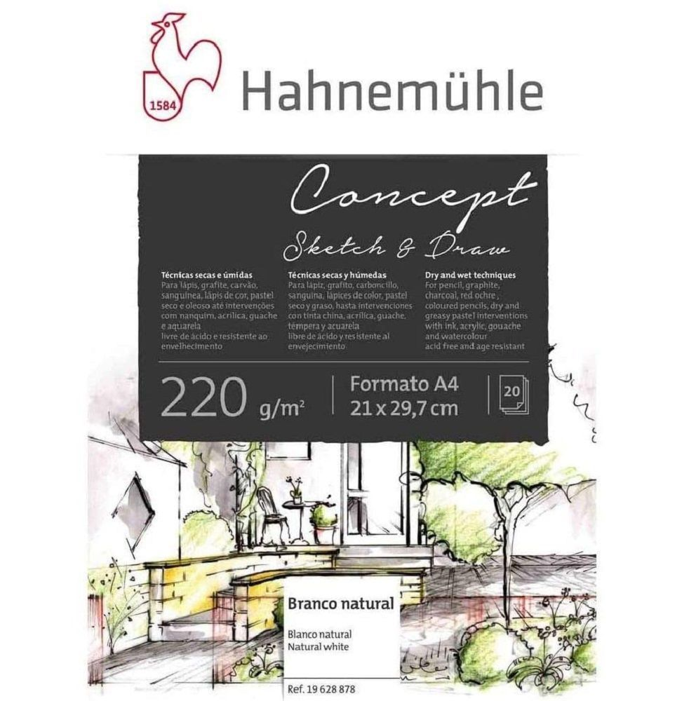 Bloco Concept Sketch e Draw Hahnemühle Grano Leve 220g/m² 21x29,7cm - 20 Folhas
