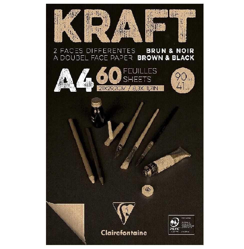 Bloco de Papel Kraft Brown & Black A4 90Gr Clairefontaine 60Fls