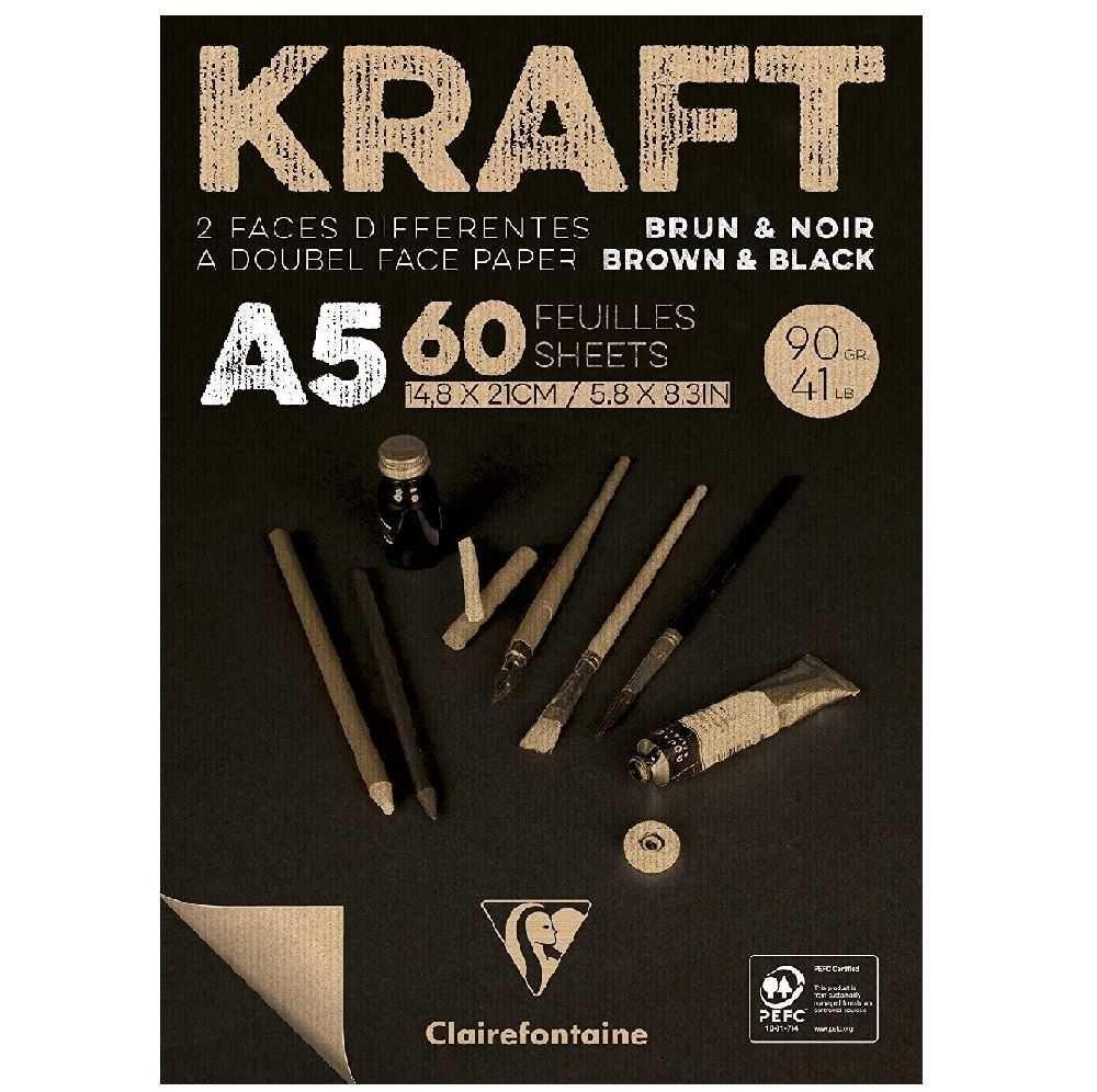Bloco de Papel Kraft Brown & Black A5 90Gr Clairefontaine 60Fls