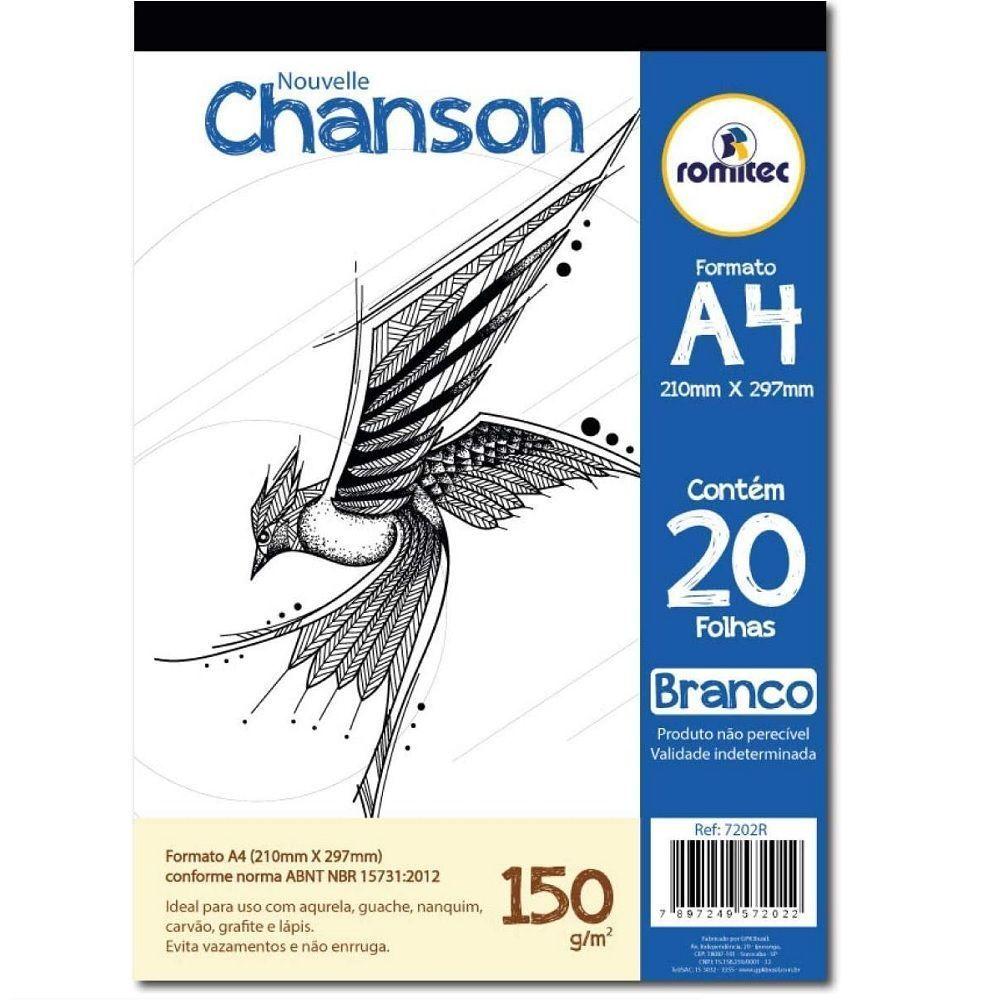 Bloco Desenho Chanson A4 150g 20 Folhas - Romitec