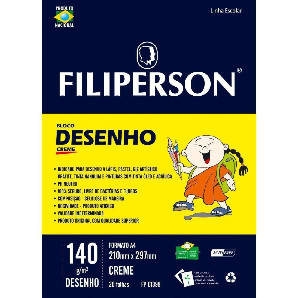 Bloco Papel Desenho A4 140g Creme Filiperson-