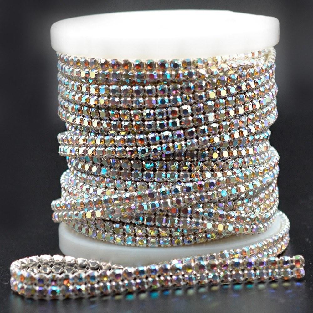 Cordão Fio de Strass 2 Fios LDI Cristal Aurora Boreal SS19 = 4,4mm