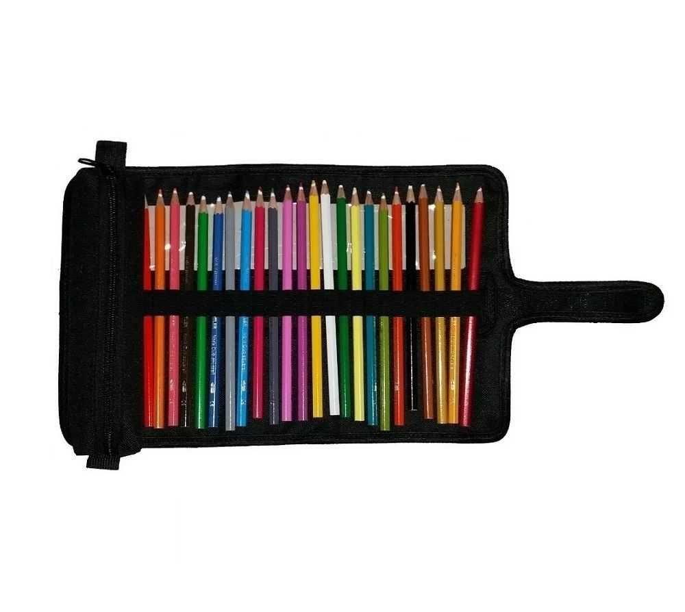 Estojo de Enrolar Oxford para 22 Lápis com Estojo Simples Preto - Stylus Tec