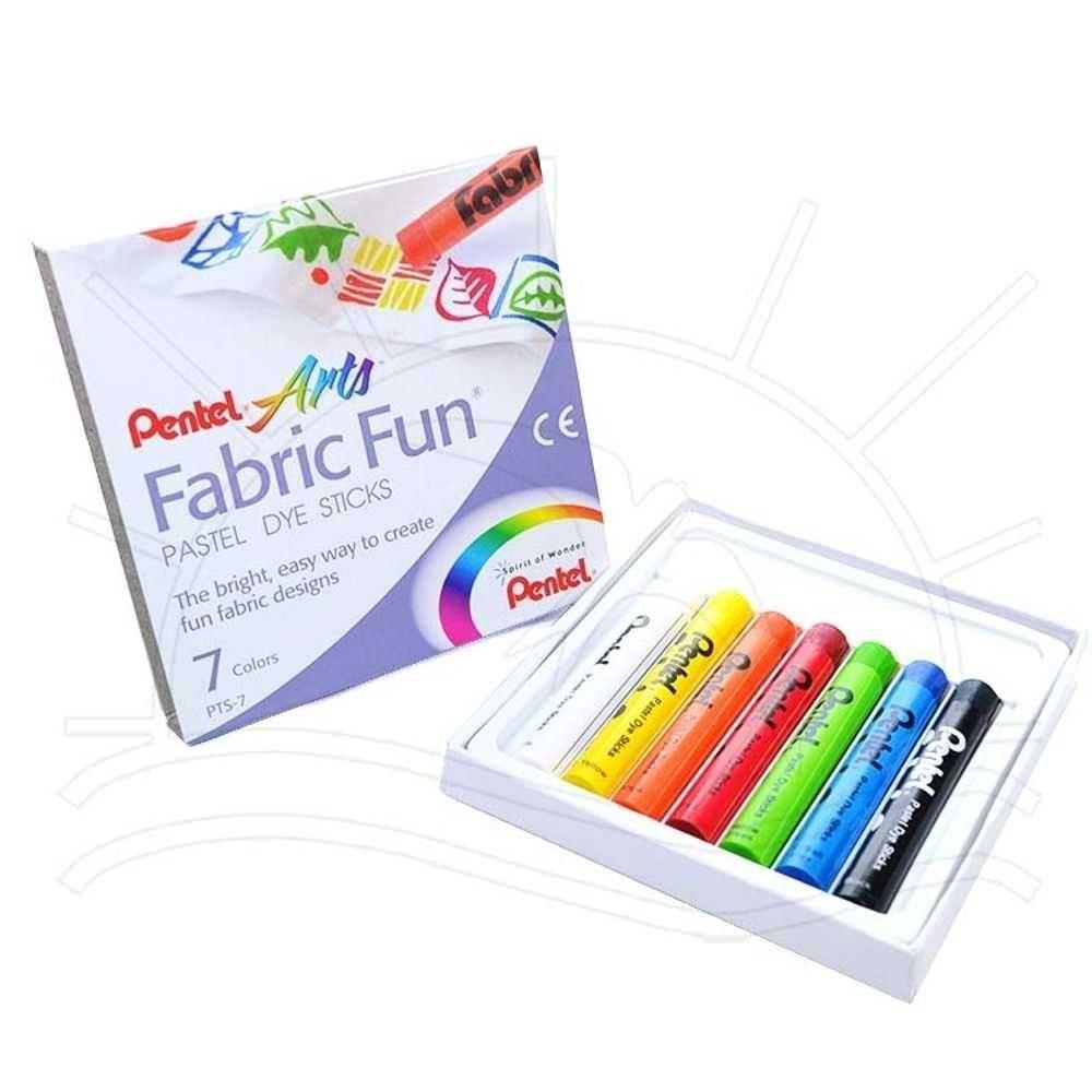 Giz Pastel Seco para Tecido - Fabric Fun - Pentel - 7 Cores - PTS-073