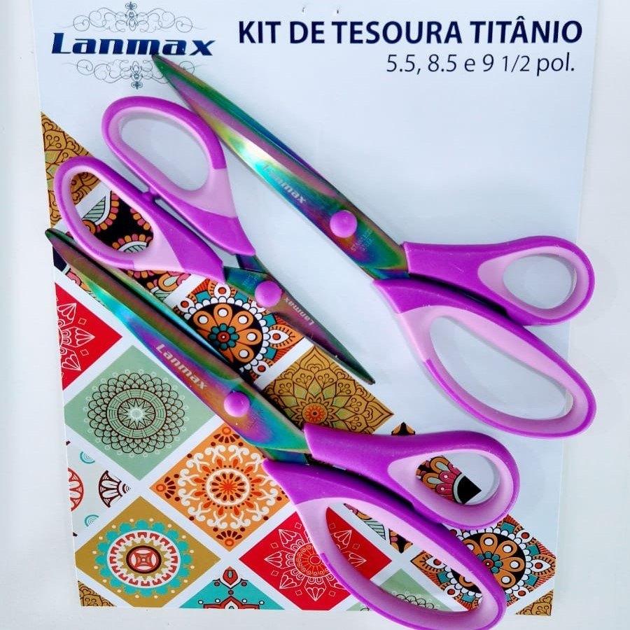 Kit Tesouras De Titânio Furta-Cor Da Lanmax LM TT - KIT
