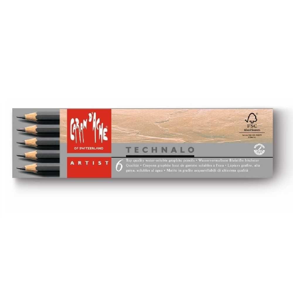 Lápis Grafite Technalo Aquarelável HB, B e 3B com 6 Unidades