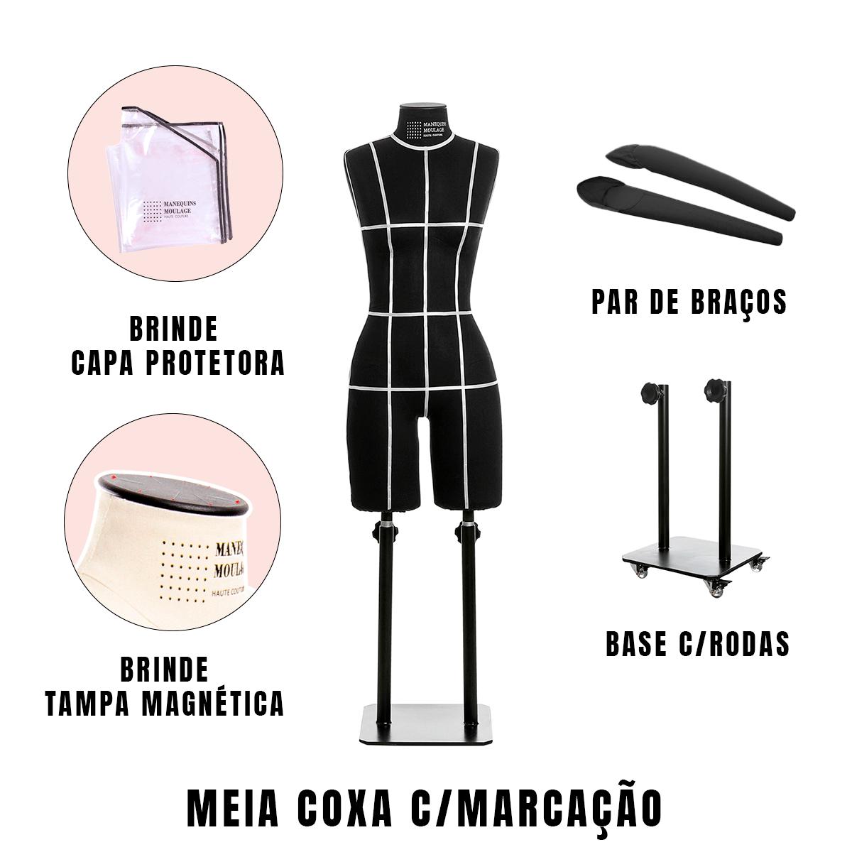 Manequim Feminino Meia Coxa Tamanho 38 Preto com Braços, Rodas e Marcação - SOB ENCOMENDA
