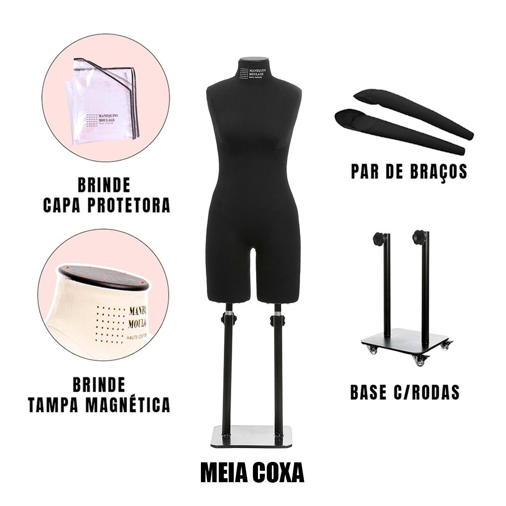 Manequim Feminino Meia coxa Tamanho 40 Preto com Braços e Rodas - SOB ENCOMENDA