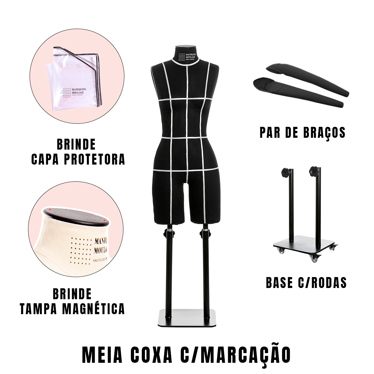 Manequim Feminino Meia Coxa Tamanho 44 Preto com Braços, Rodas e Marcação - SOB ENCOMENDA
