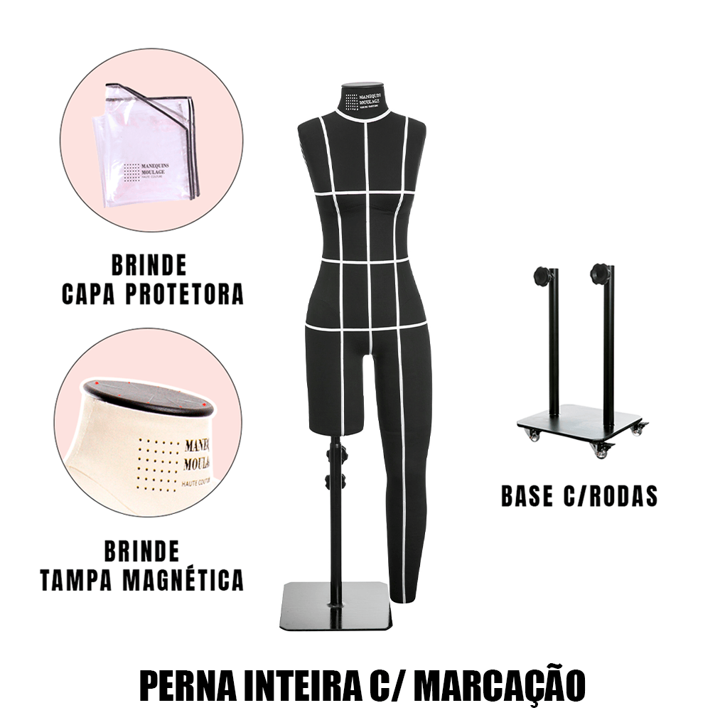 Manequim Feminino Perna Inteira Tamanho 38 Preto com Rodas e Marcação - SOB ENCOMENDA