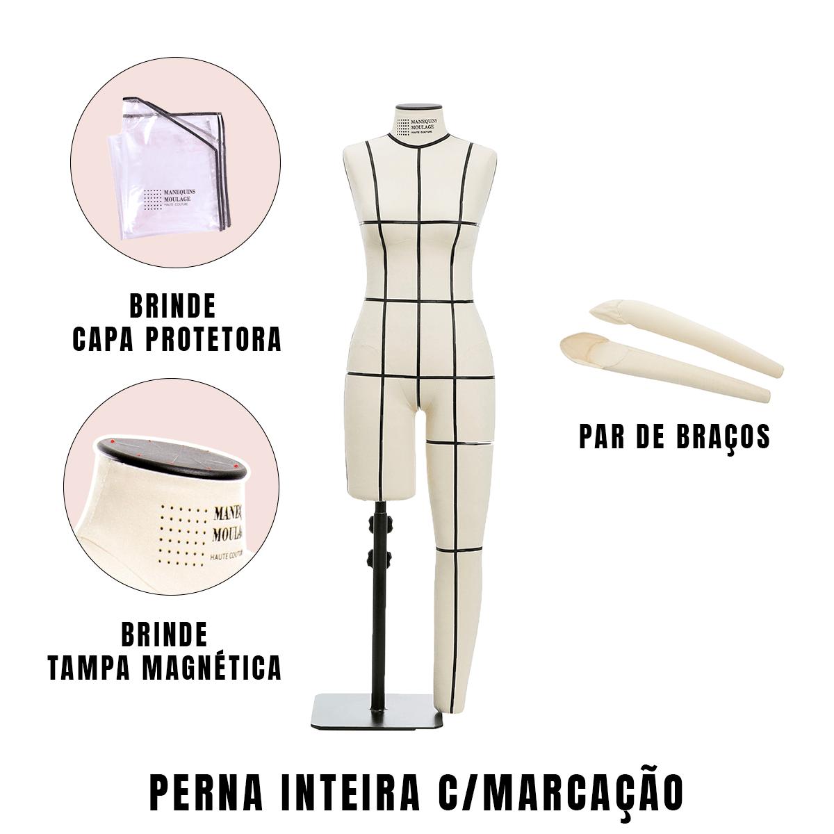 Manequim Feminino Perna Inteira Tamanho 40 com Braços e Marcação - SOB ENCOMENDA