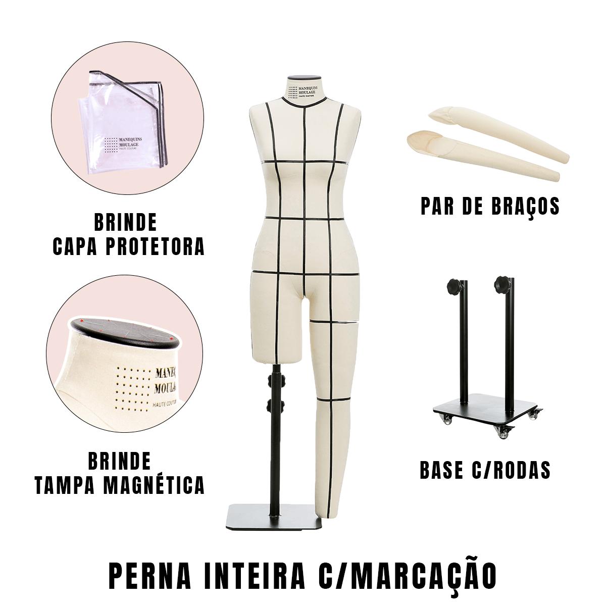 Manequim Feminino Perna Inteira Tamanho 40 com Braços, Rodas e Marcação - SOB ENCOMENDA