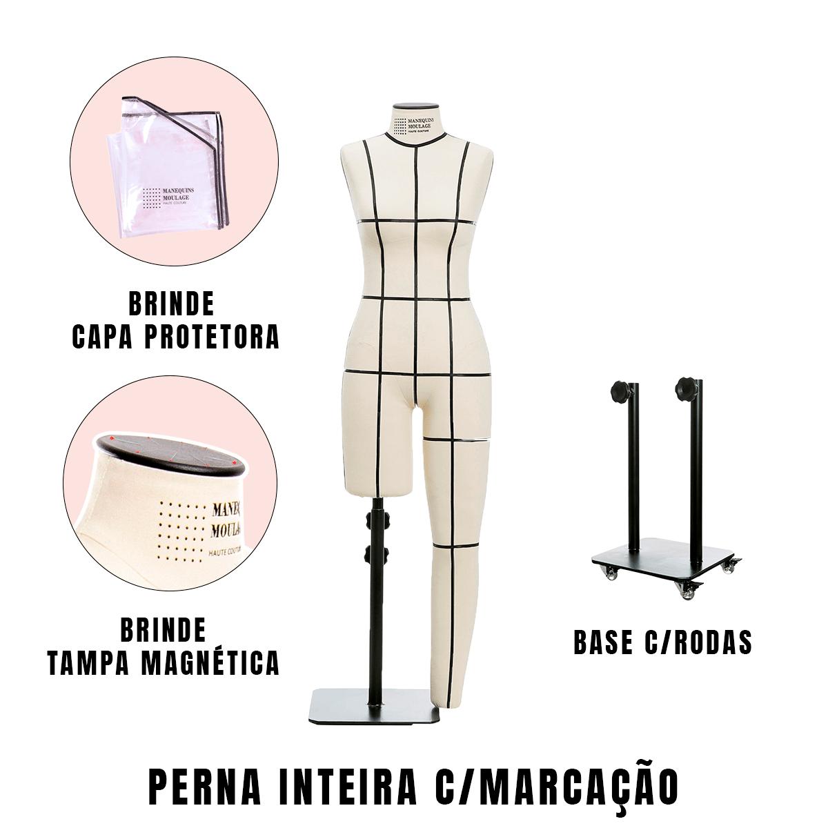 Manequim Feminino Perna Inteira Tamanho 40 com Rodas e Marcação - SOB ENCOMENDA