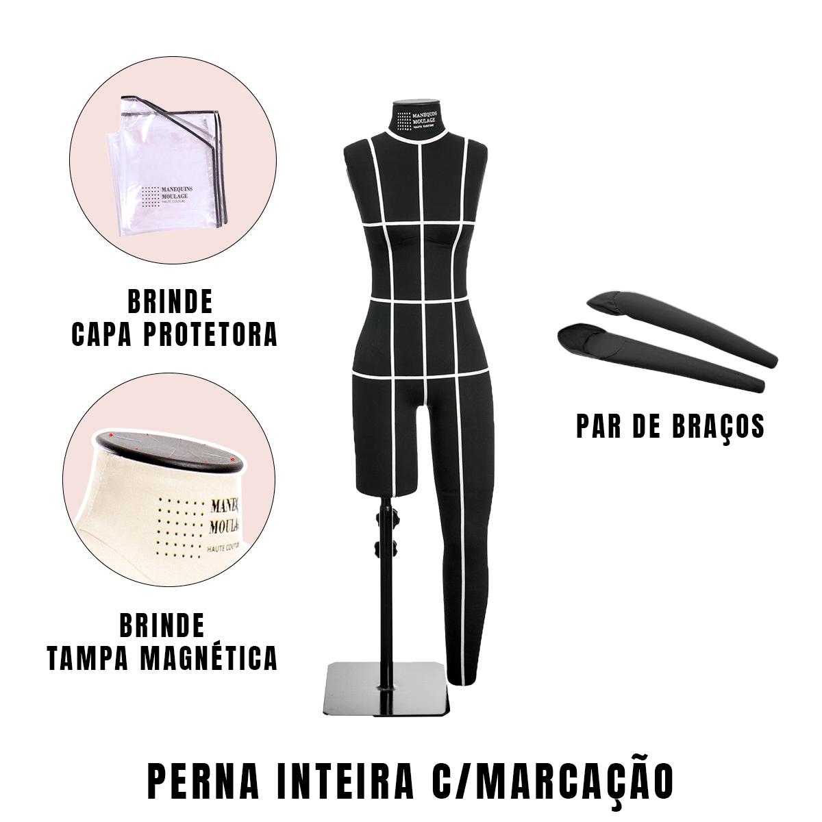 Manequim Feminino Perna Inteira Tamanho 42 Preto com Braços e Marcação - SOB ENCOMENDA