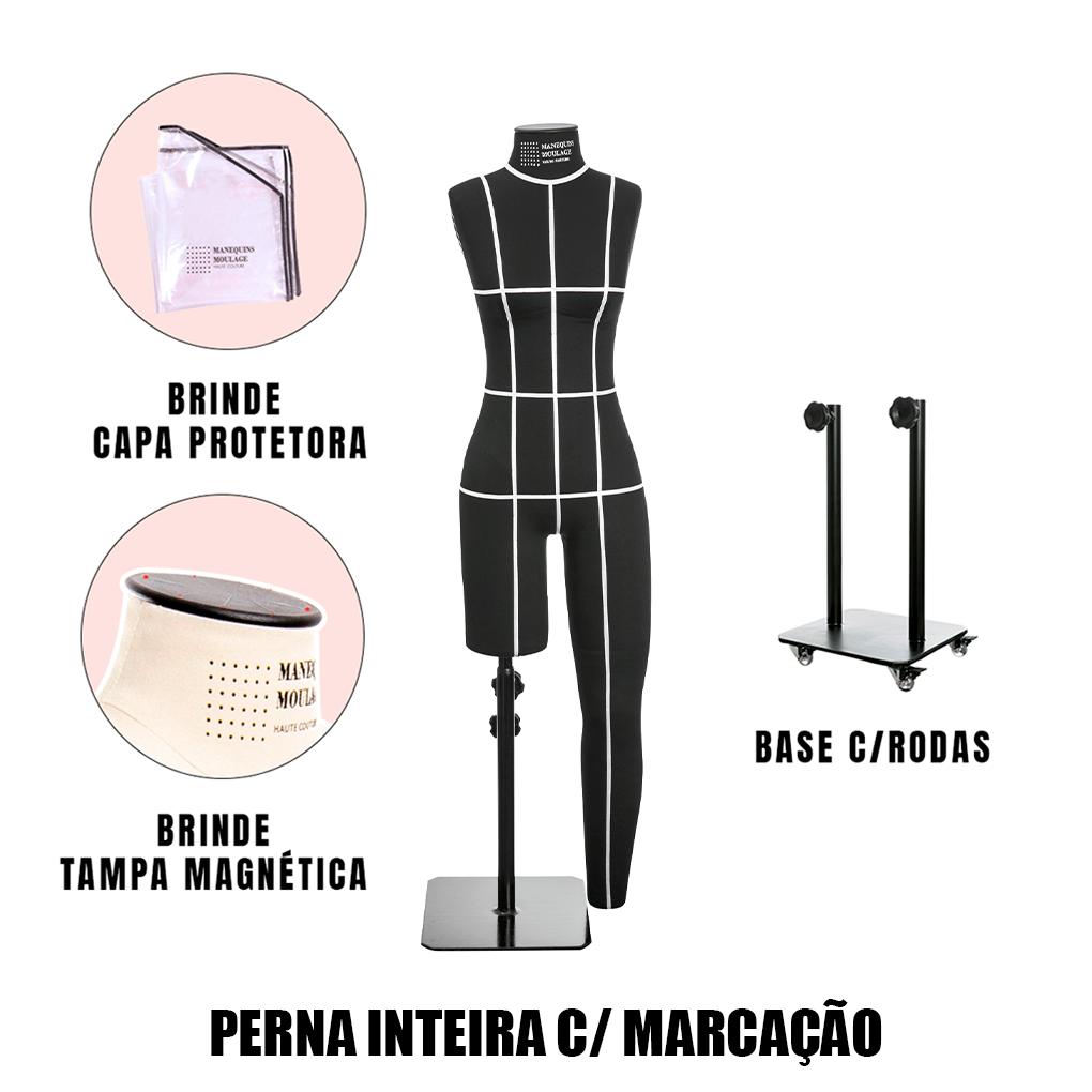 Manequim Feminino Perna Inteira Tamanho 42 Preto com Rodas e Marcação - SOB ENCOMENDA