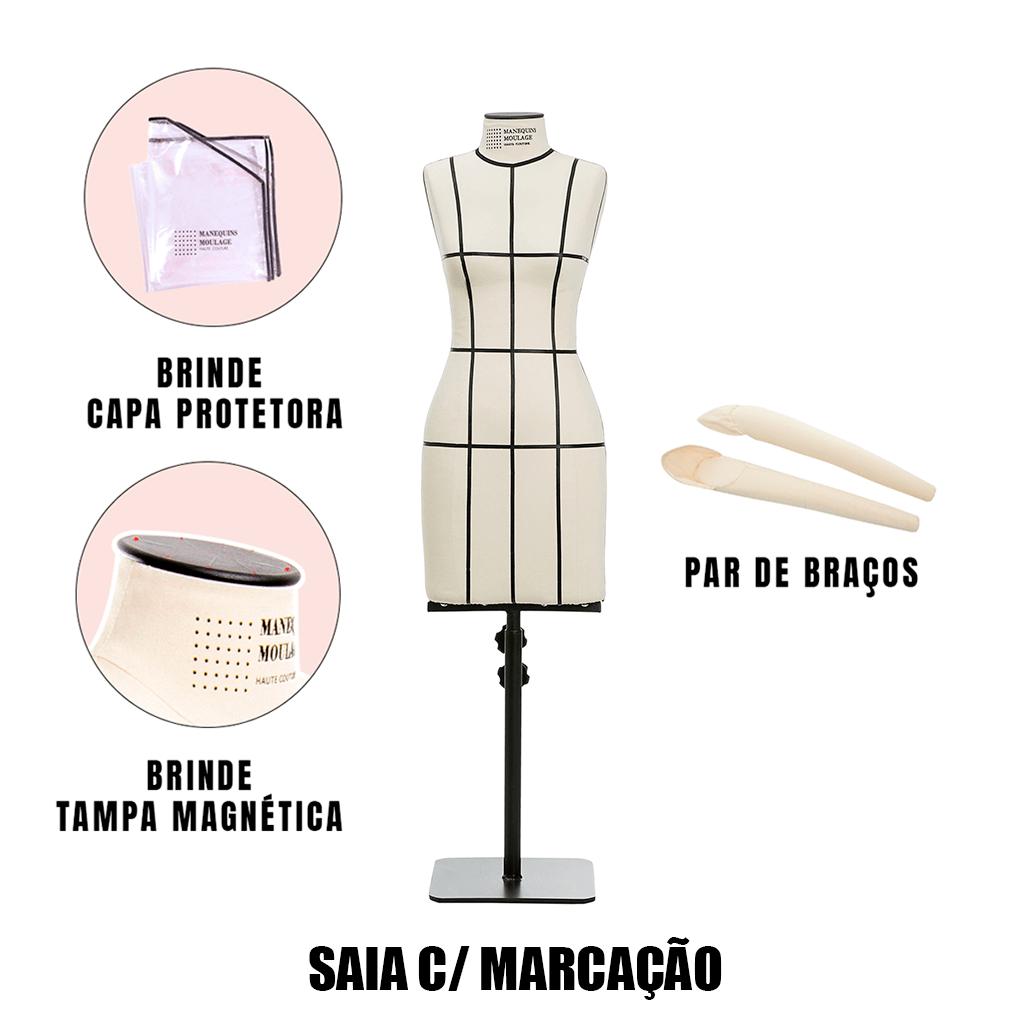 Manequim Feminino Saia Tamanho 38 com Braços e Marcação - SOB ENCOMENDA