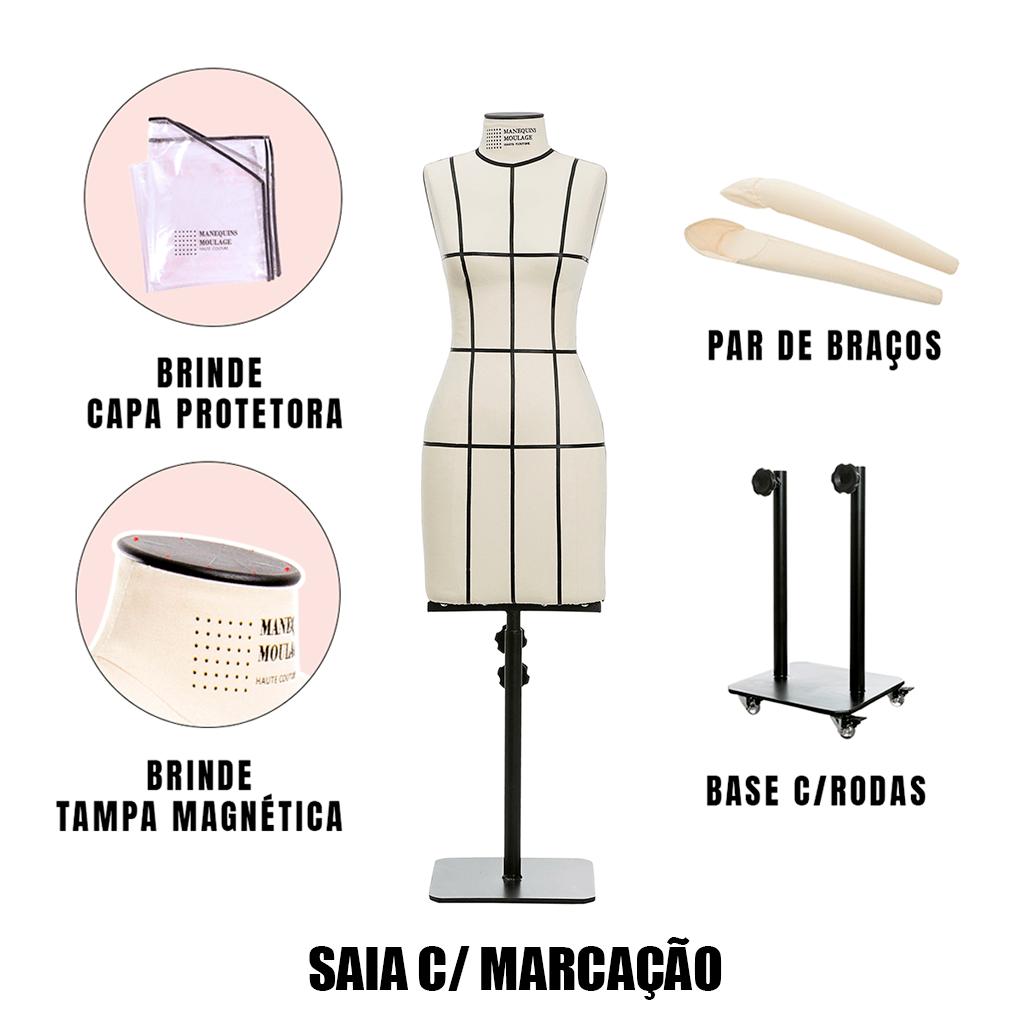 Manequim Feminino Saia Tamanho 40 com Braços, Rodas e Marcação - SOB ENCOMENDA