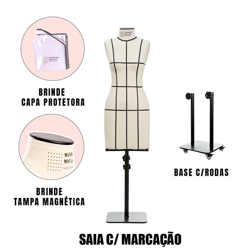 Manequim Feminino Saia Tamanho 44 com Rodas e Marcação - SOB ENCOMENDA