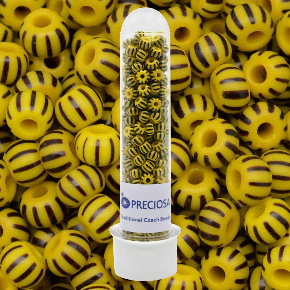 Miçanga Jablonex Amarelo 10 Tiras Pretas Rajada Fosco 83501 2/0 = 6,1mm