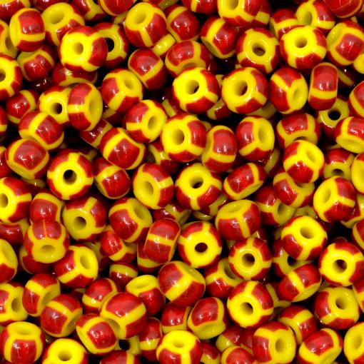 Miçanga Preciosa® Ornela Amarelo 8 Tiras Bordo e 4 Laranja Fosco (83190) 5/0=4,6mm