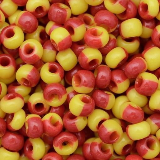 Miçanga Preciosa® Ornela Amarelo Vermelho Rajado Harlequin (83790) 5/0=4,6mm