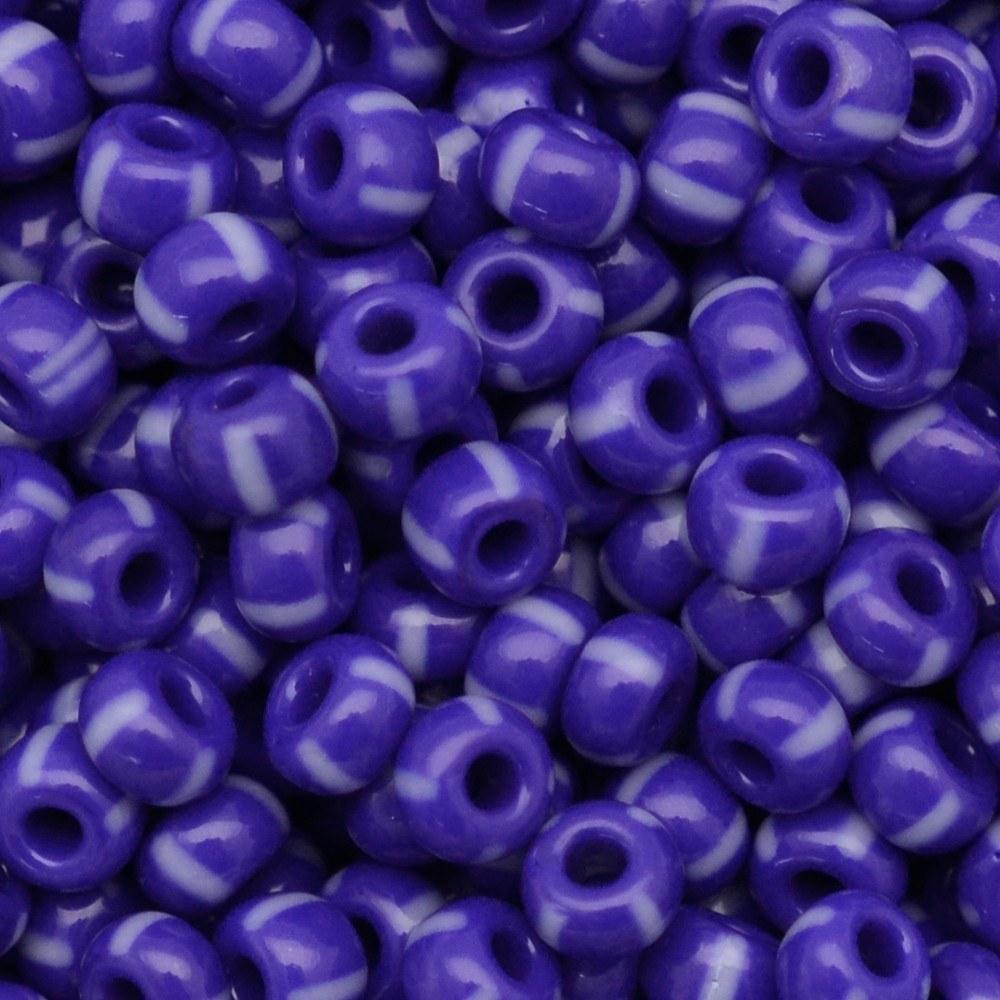 Miçanga Preciosa® Ornela Azul 4 Tiras Branco Rajado Fosco (33030) 5/0=4,6mm 50 gr