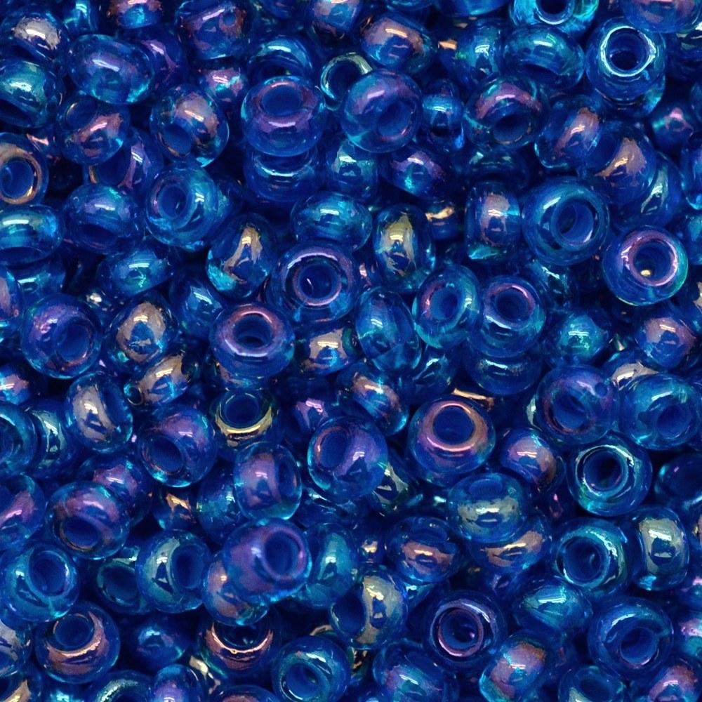 Miçanga Preciosa® Ornela Azul e Roxo Lined Colorido Aurora Boreal (64153) 6/0=4,1mm 100 gr