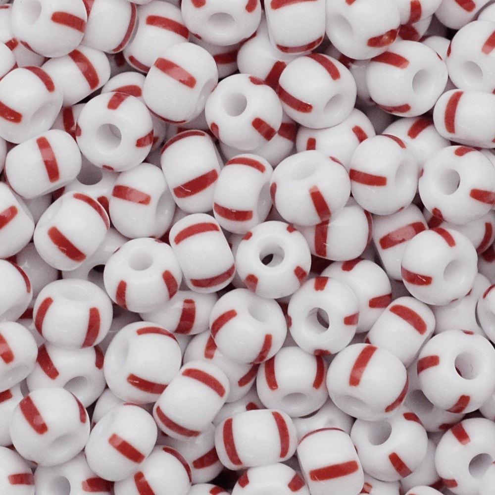 Miçanga Preciosa® Ornela Branco 4 Tiras Vermelhas Rajado Fosco (03890) 2/0=6,1mm 50 gr