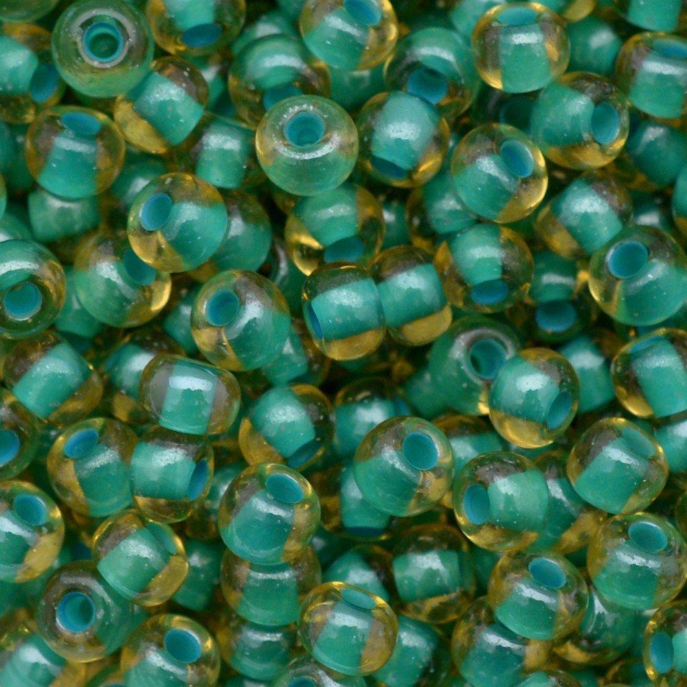 Miçanga Preciosa® Ornela Topaz e Verde Lined Colorido (11024) 5/0=4,6mm 100 gr
