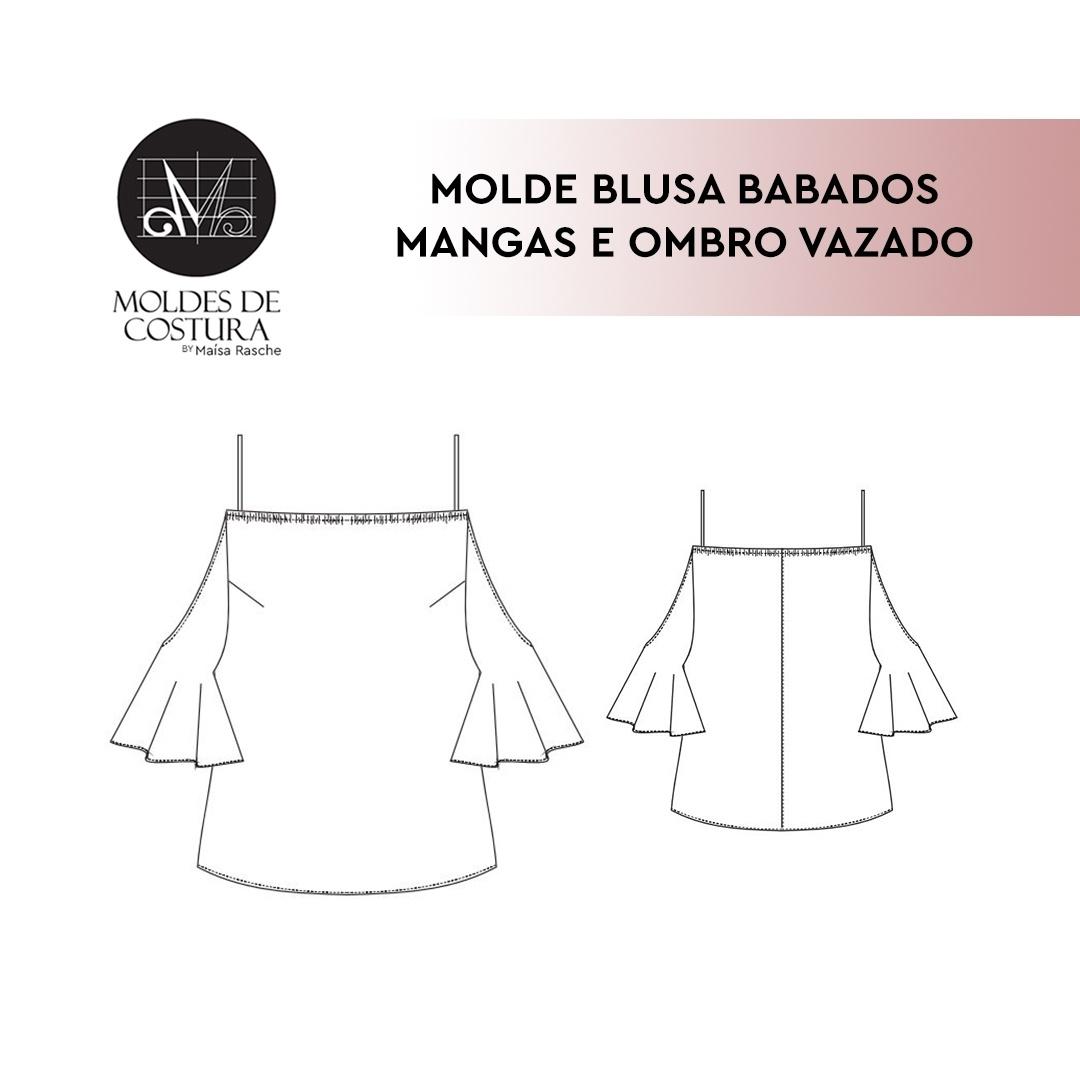 Molde blusa babados mangas e ombro vazado By Maísa Rasche