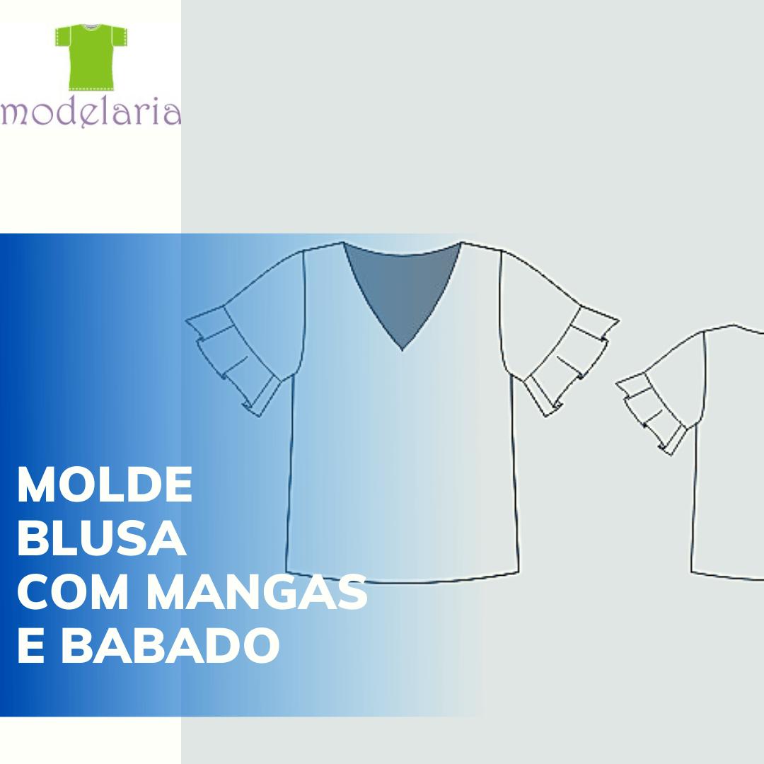 Molde blusa com babado godê nas mangas, plus size, TAM 46 ao 54. Criatiane Lára