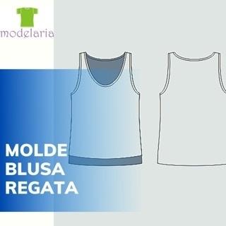 Molde blusa regata com costas mais comprida, plus size, TAM 46 ao 54. Cristiane Lára