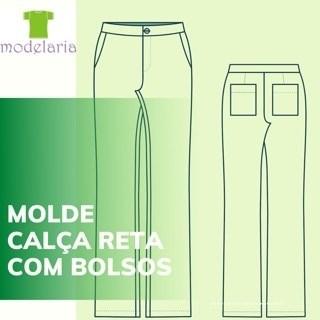 Molde calça social feminina com bolso faca, plus size, TAM 46 ao 54. Cristiane Lára