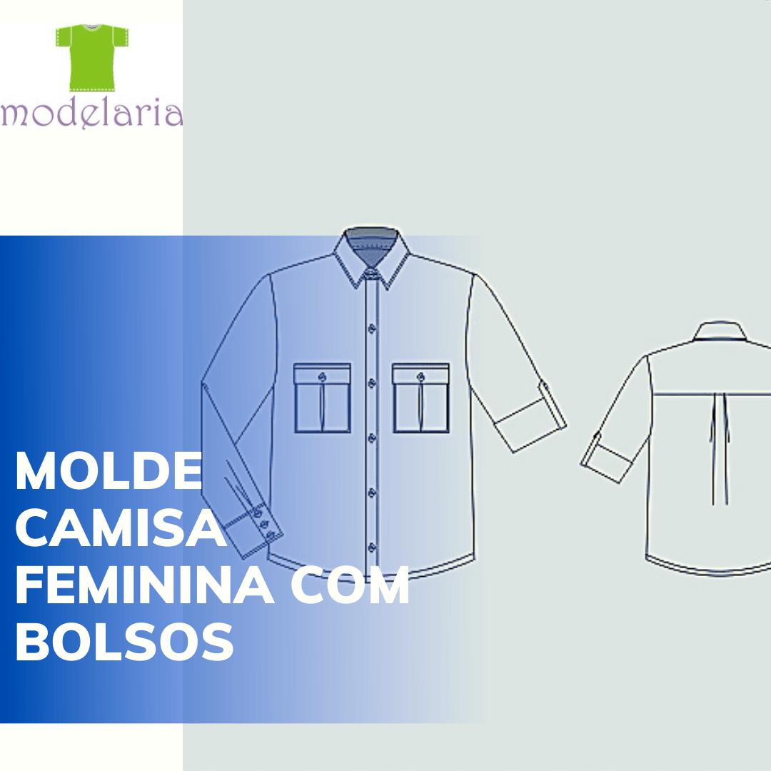Molde camisa feminina ampla com bolsos, plus size, TAM 46 ao 54. Cristiane Lára