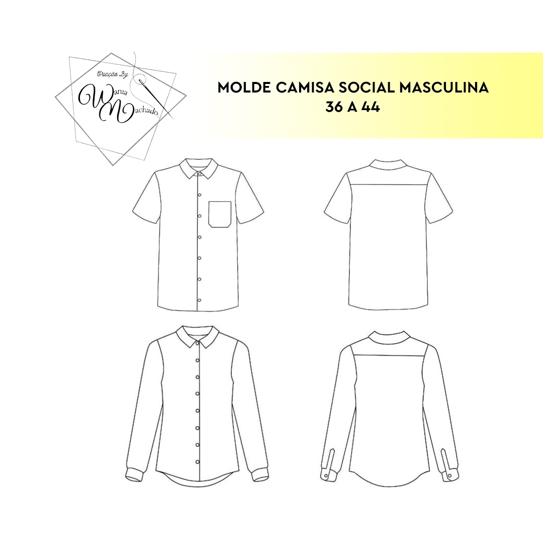 Molde Camisa Masculina Adulto tam 36/44 - by Wânia Machado