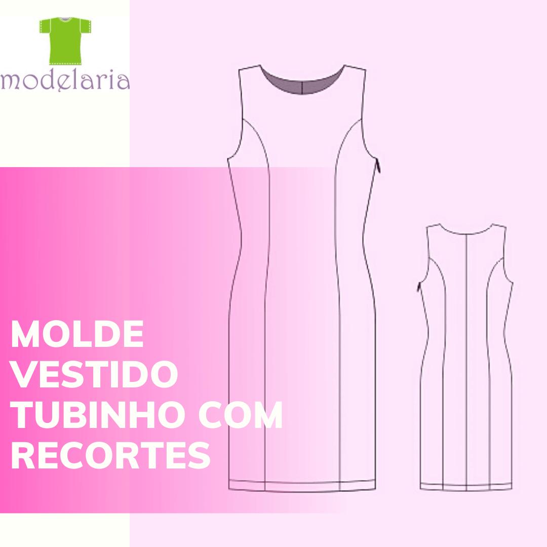 Molde de vestido tubinho com recortes, plus size, TAM 46 ao 54. Cristiane Lára