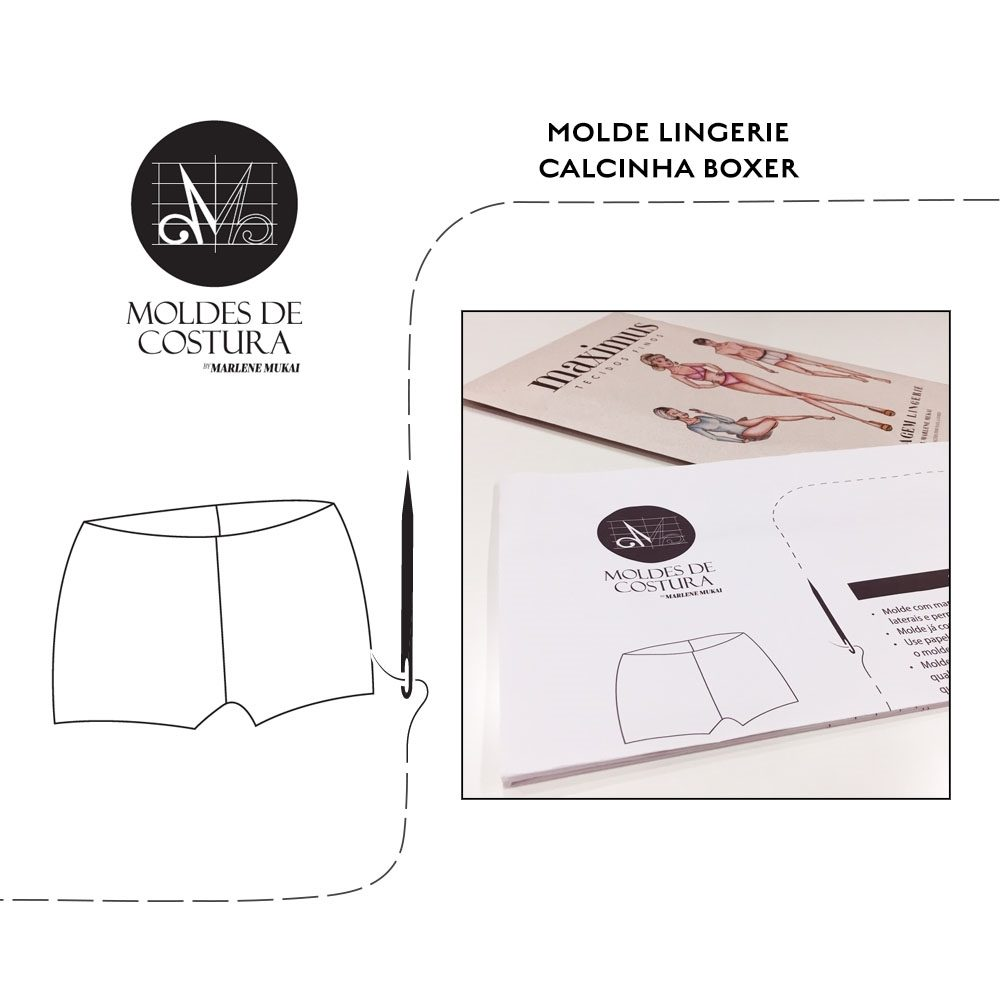 Molde lingerie calcinha boxer- by Marlene Mukai
