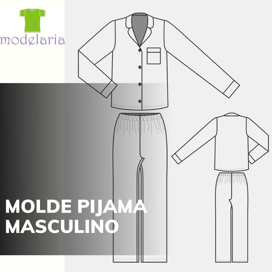 Molde pijama masculino americano, longo, TAM 36 ao 46. Cristiane Lára