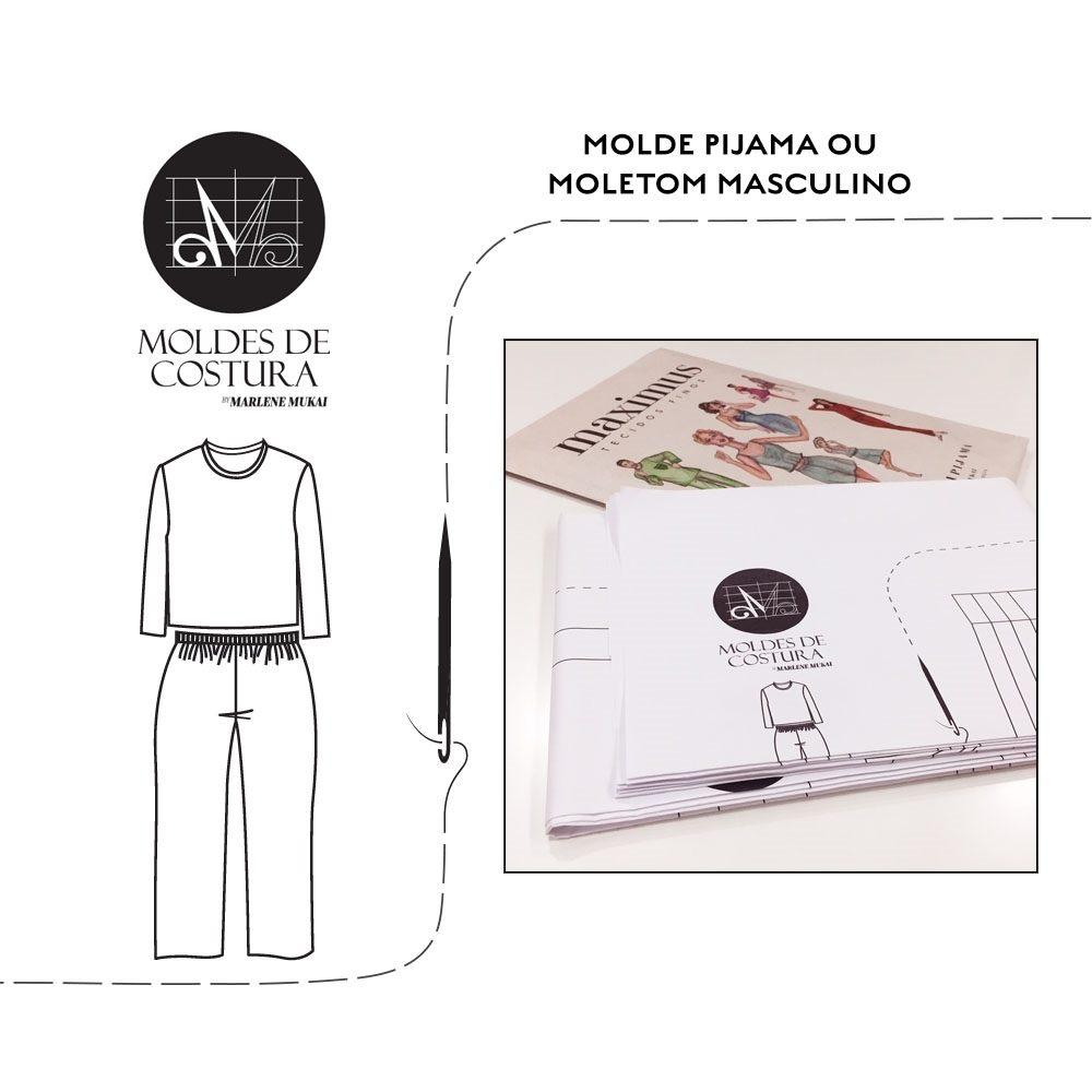 Molde pijama ou moletom masculino P ao GG - by Marlene Mukai