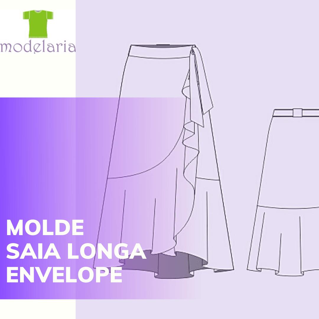 Molde saia longa transpassada com babado, plus size, TAM 46 ao 54. Cristiane Lára