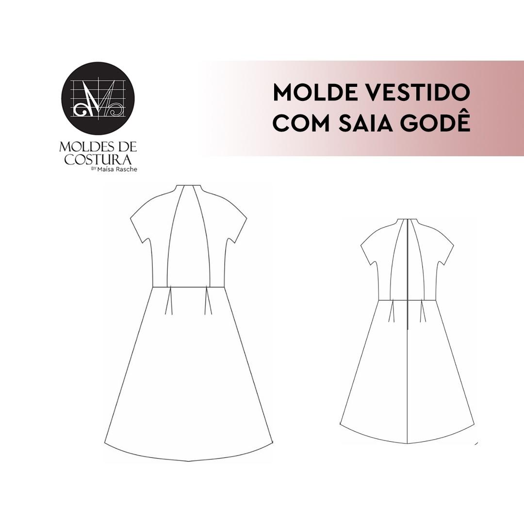 Molde Vestido com Saia Godê tam PP/EXG - by Maísa Rasche