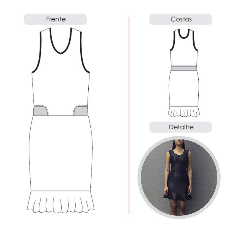 Molde vestido com transparência By Maísa Rasche